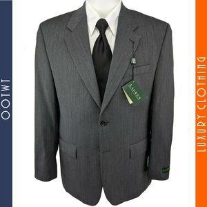 RALPH LAUREN 40R Gray Herringbone Wool Jacket Coat